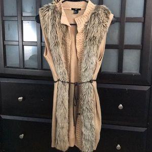 H&M Knit Vest Faux Fur Trim